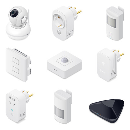 Smart home technology appliances icometric icon set graphic illustration