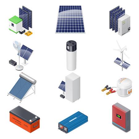 solar equipment: Home solar energy equipment isometric icon set graphic illustration