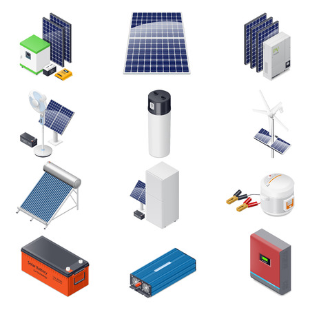 Home solar energy equipment isometric icon set graphic illustration