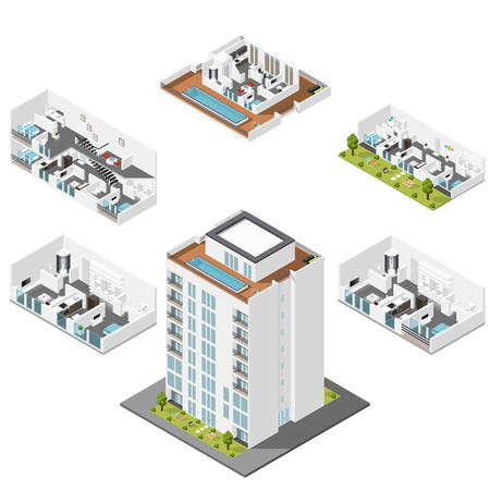 loungers: Residential house with apartments in a cut isometric icons set graphic illustration