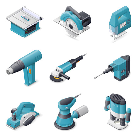 jig saw: Construction electric tools isometric detailed icon set vector graphic illustration