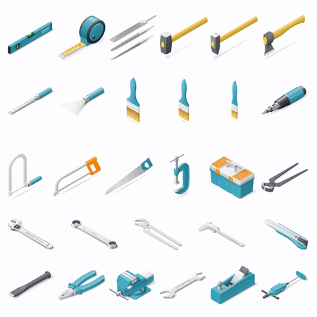 Building hand tools isometric detailed icons set vector graphic illustration