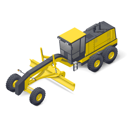 Motor grader isometric detailed icon vector graphic illustration Illustration