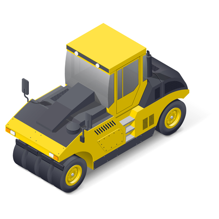 Pneumatic road compactor isometric detailed icon vector graphic illustration
