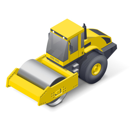 compactor: Soil compactor isometric detailed icon vector graphic illustration