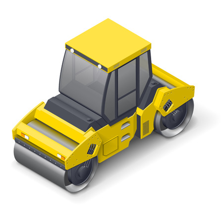 Tandem vibratory roller isometric detailed icon vector graphic illustration