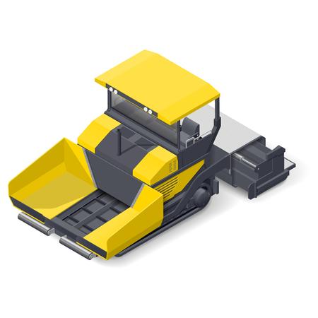 roadwork: Asphalt paver detailed isometric icon vector graphic illustration