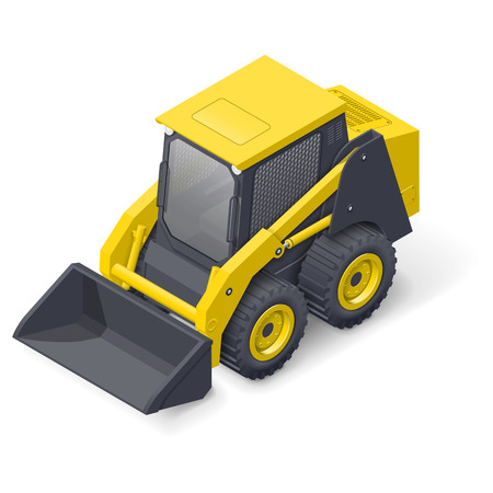 skid: Skid steer mini loader detailed isometric icon vector graphic illustration