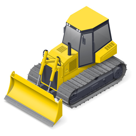 earth mover: Bulldozer detailed isometric icon vector graphic illustration