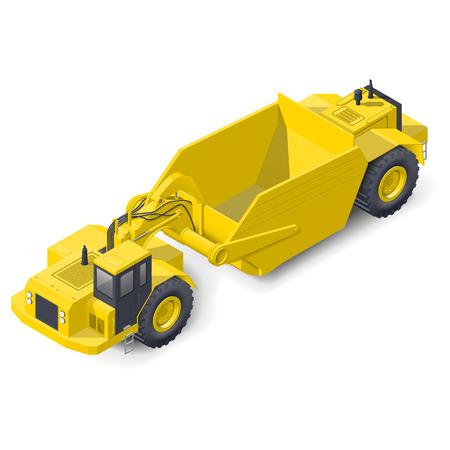 scraper: Self-powered scraper isometric detailed icon vecto graphic illustration design