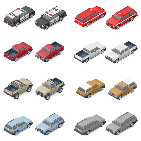 Isometric SUVs, pickup trucks, and service vehicles of police or fire brigade provided front and rear, which can be used in different elements of infographics, vector graphic illustration design