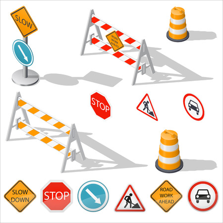 Road barriers and signs isometric detailed icon set, vector graphic illustration design
