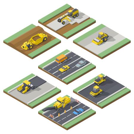 Elementy izometryczne infografika pokazująca etapy budowy lub utrzymania dróg z odpowiednim zastosowaniem techniki, wektor grpahic projektowania ilustracji