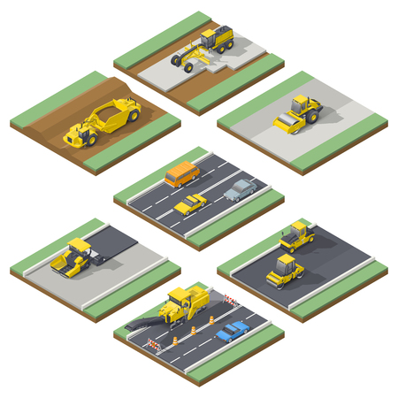 pneumatic tyres: Isometric elements infographic showing the stages of construction or maintenance road with the appropriate using the technique, vector grpahic illustration design
