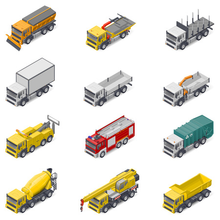 Commercial, construction, and service trucks isometric icon set vector graphic illustration design