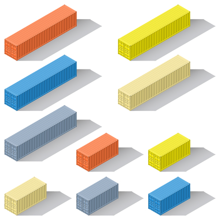 Forty-foot twenty-foot sea containers of different colors detailed isometric icons set vector graphic illustration design Illustration