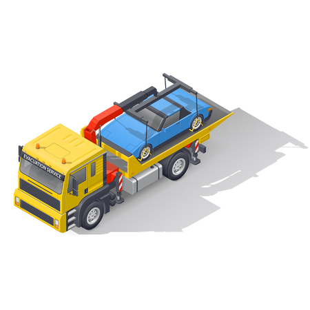 Vehicle tow truck transporting on board a broken car isometric icon set vector graphic illustration design