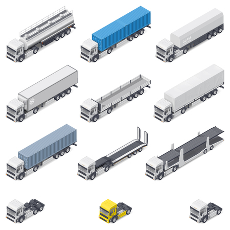 reefer: Trucks with different semi-trailers detailed isometric icons set vector graphic illustration design