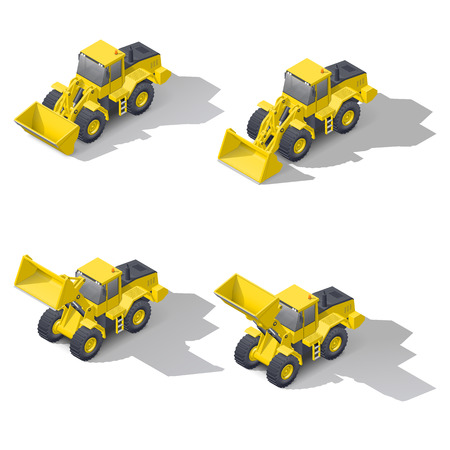 Quarry front loader with a different position of the bucket isometric icon set, vector graphic illustration design
