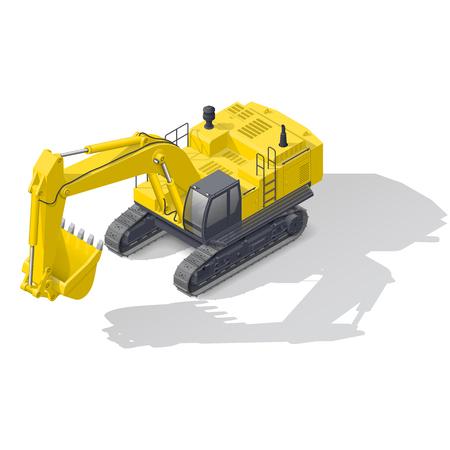 crawler tractor: Modern quarry tracked excavator isometric icon vector graphic illustration design