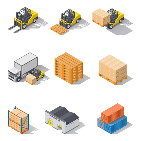Storage equipment isometric icons set. It includes vehicles, forklifts in various combinations, trailers, shelves, pallets with goods, and warehouse building