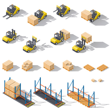 Storage equipment isometric icon set. Presented forklifts in various combinations, storage racks, pallets with goods for infographics. Vector graphic illustration design Illustration