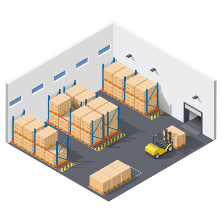 Element infographic presents work inside the warehouse, shipment of goods is carried out with a forklift isometric icon set,