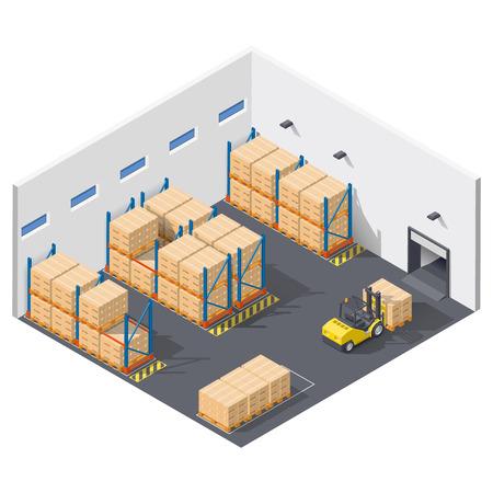 Element infographic presenteert het werk in het magazijn, wordt verzending van goederen met een heftruck isometrische icon set uitgevoerd, Stock Illustratie