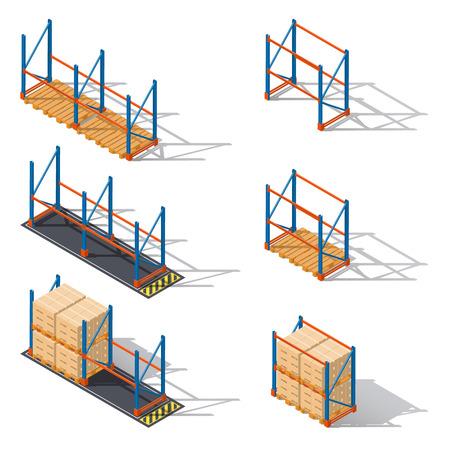 bastidores de almacenamiento de pallets, que se presentan en diversas combinaciones para utilizar las diferentes elementos de la infografía iconos conjunto isométricos