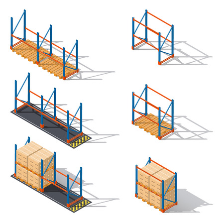 Storage racks for pallets, presented in various combinations to use various elements of infographics isometric icons set