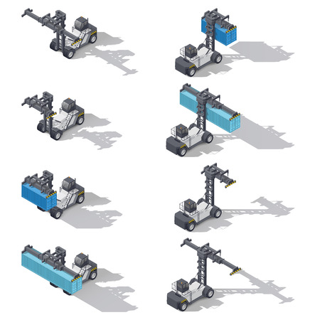 heavy set: Full container port heavy loader with and without cargo isometric icon set, vector graphic illustration