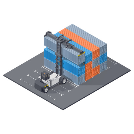 Port loader stacks containers, isometric icon vector graphic illustration design Illustration