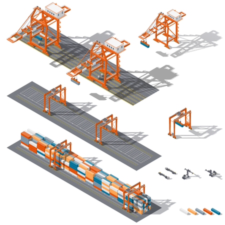 Sea container terminal. Ship-to-shore, and storage containers zone, which is represented the work rtg and sts cranes and related equipment, terminal tractors and container handler, isometric icon set vector graphic illustration design
