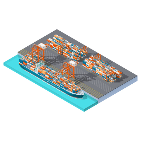 Modern sea container terminal isometric icon set, vector graphic illustration Illusztráció