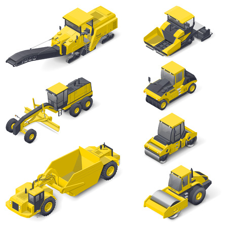earthmoving: Transport for laying and repair of asphalt isometric icon set vector graphic illustration Illustration
