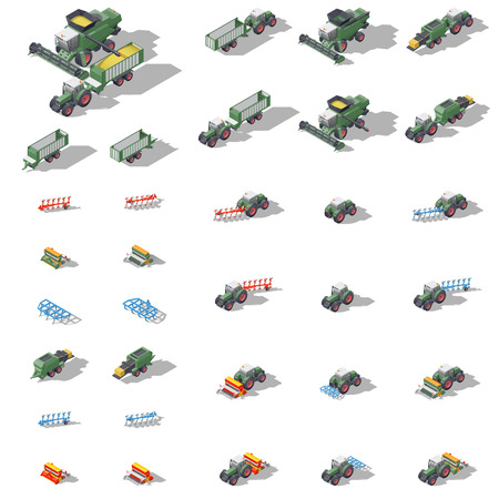 harrow: Agricultural machinery isometric icon set vector graphic illustration Illustration