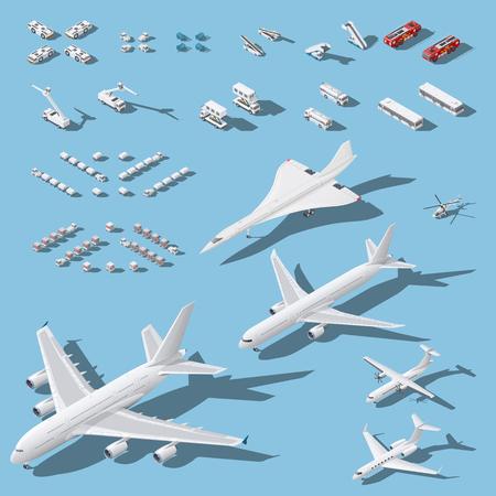 Diverse passagiersvliegtuigen en onderhoudsmateriaal voor luchthaven isometrische pictogrammen geplaatst vector grafische illustratie Stock Illustratie