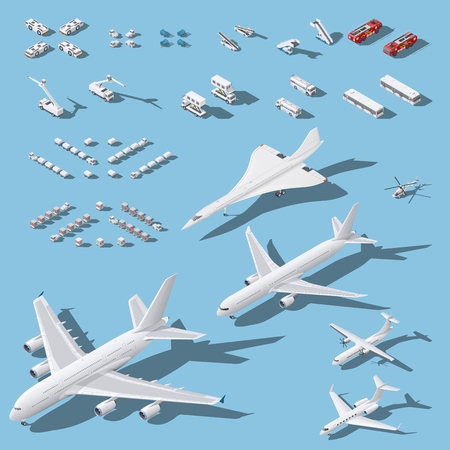 Various passenger airplanes and maintenance equipment for airport isometric icons set vector graphic illustration