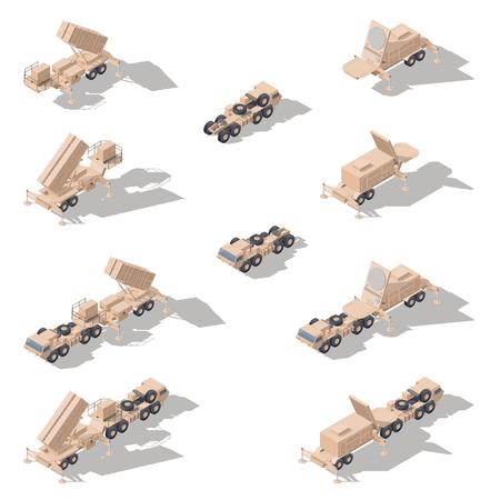 Luchtverdediging raket systeem isometrische pictogram set vector grafische illustratie