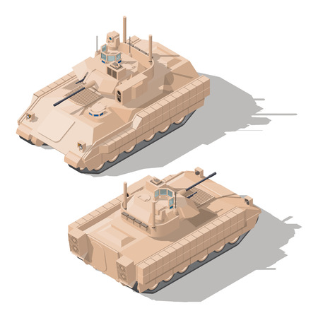 Infantry combat vehicle with dynamic protection and anti-tank guided missile system isometric icon set vector graphic illustration