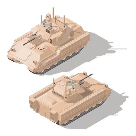 Véhicule de combat d'infanterie avec protection dynamique et système anti-balles de missiles guidés icône isométrique jeu illustration graphique vectorielle Banque d'images - 79163646
