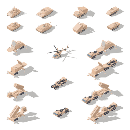 Equipo militar moderno en camuflaje del desierto icono isométrico conjunto de gráficos vectoriales Ilustración de vector