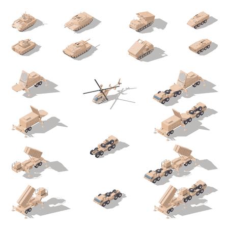 Nowoczesny sprzęt wojskowy w pustynnym kamuflażu izometryczny zestaw ikon wektora grafiki Ilustracje wektorowe