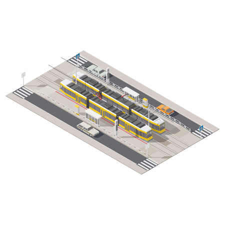 miniature: Tram station located in the middle of the street isometric icon set vector grapgic illustration design Illustration