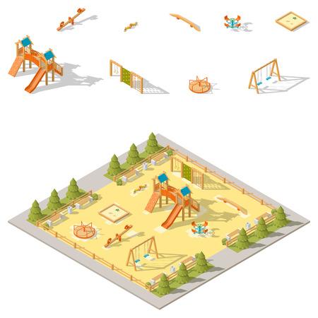 Children playground isometric icon set vector graphic illustration Illustration