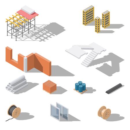 Building elements isometric icon set vector graphic illustration design