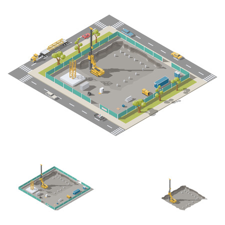 Koper install piles at construction site isometric icon set vector graphic illustration design