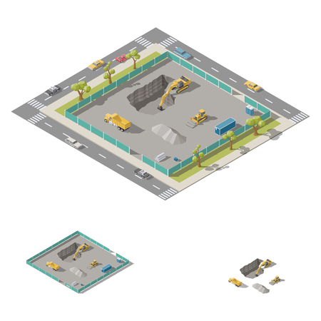 Excavator digs a pit on the construction site isometric icon set vector graphic illustration design
