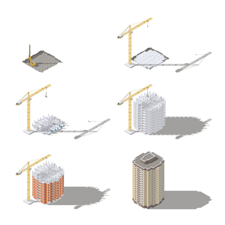Stages of construction of a high-rise building isometric icon set vector graphic illustration design Çizim