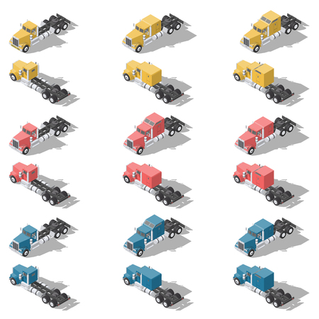 American trucks isometric low poly icon set vector graphic illustration design 向量圖像